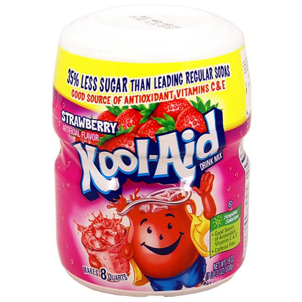 Kool Aid Barrel Strawberry, Sugar-Sweetend Soft Drink Mix